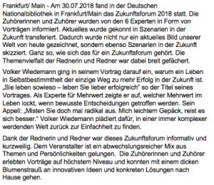 Pressetext_Zukunftsforum Volker Wiedemann Keynote-Speaker Experte Mehrwert