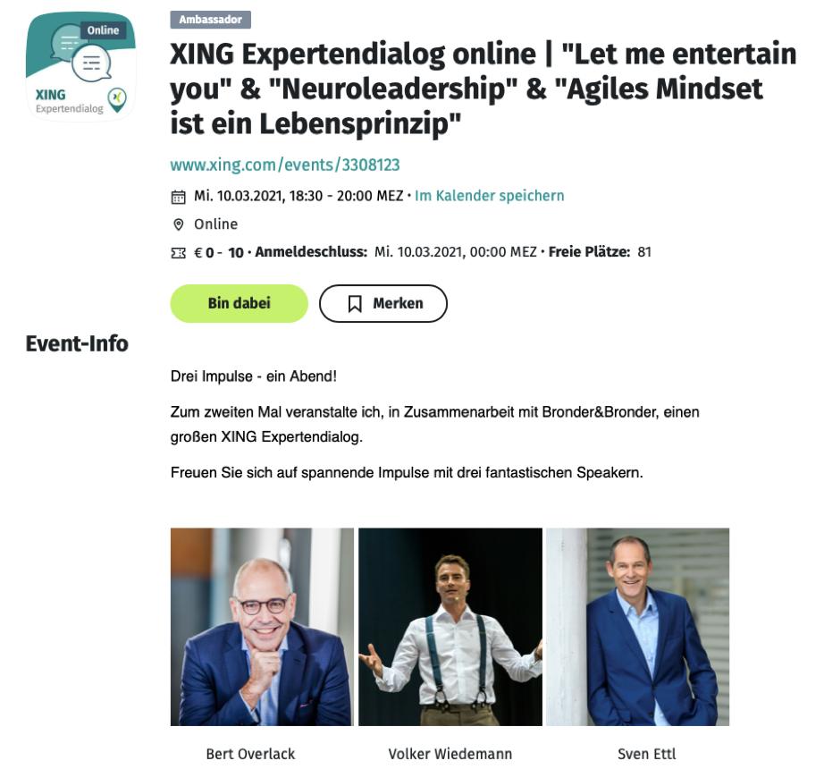 Volker Wiedemann agiles MIndset Agilität Xing Expertendialog Redner